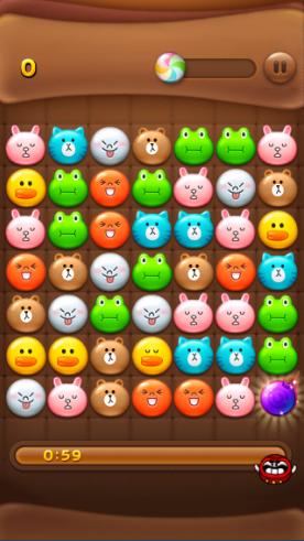 2014 01 03 1913 【LINEPOP】「ミキ、ダル、コンビー」で使用可能。ブロック全消し爆弾の効果【ミニモン】