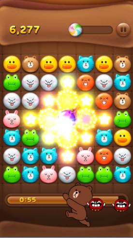 2014 01 03 1915 【LINEPOP】「ミキ、ダル、コンビー」で使用可能。ブロック全消し爆弾の効果【ミニモン】