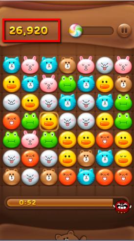 2014 01 03 1916 【LINEPOP】「ミキ、ダル、コンビー」で使用可能。ブロック全消し爆弾の効果【ミニモン】